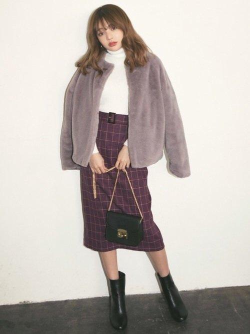 ファーコート×タイトスカート