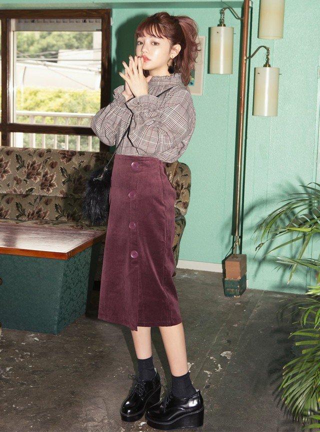 フロントボタンコーデュロイタイトスカート
