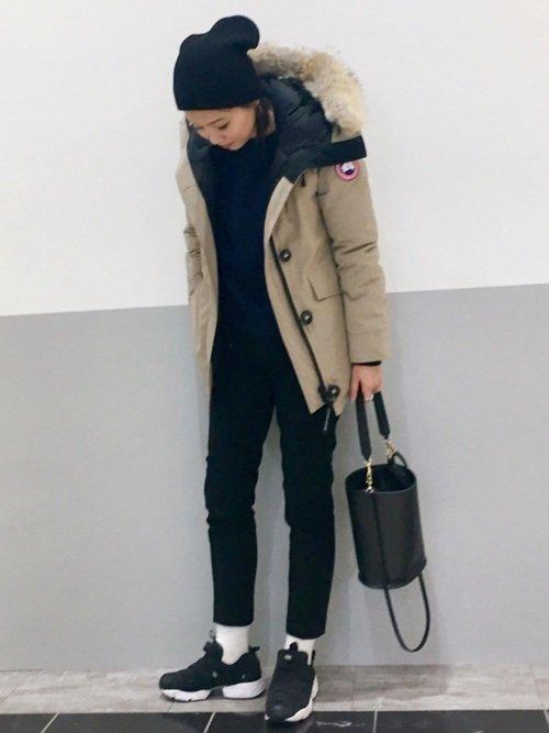 ニット帽とフード付きジャケットを使った氷点下の服装