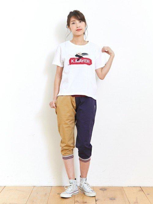 Tシャツ×パンツコーデ
