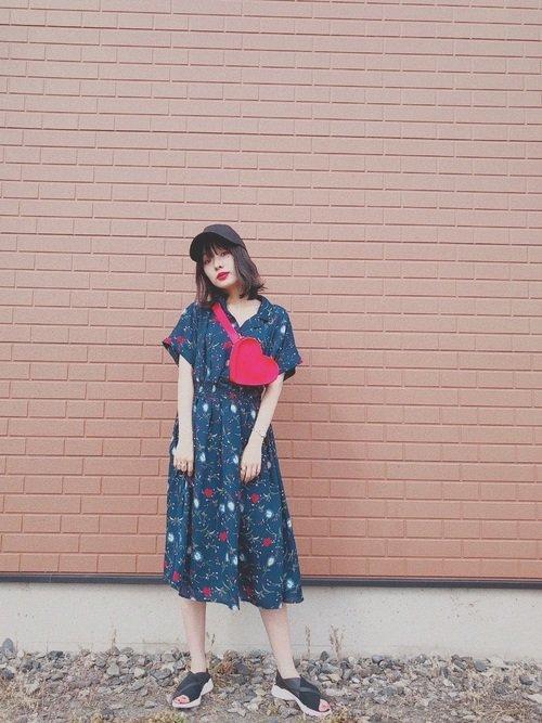 青系花柄シャツワンピース