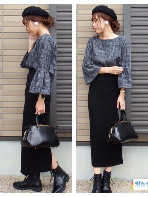 グレンチェックのトップス 黒のロングスカート
