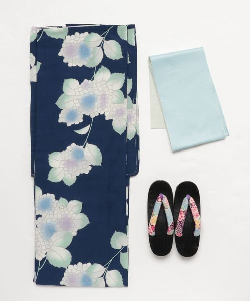 紺色の浴衣×水色の帯セット