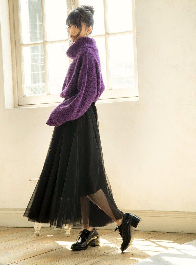 ブラックのチュールスカート
