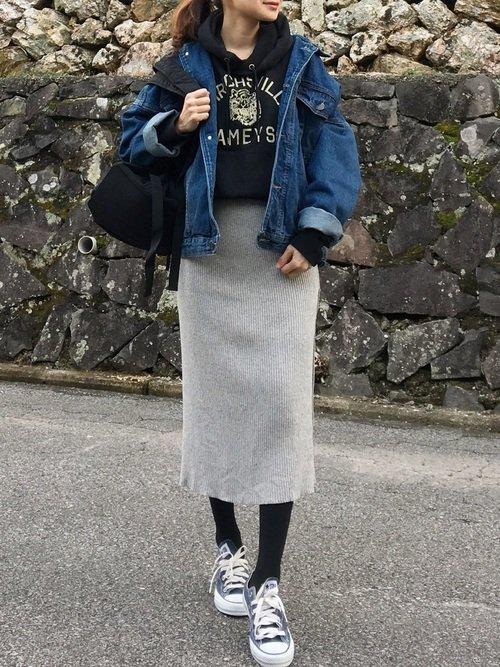 デニムジャケットの冬コーデ