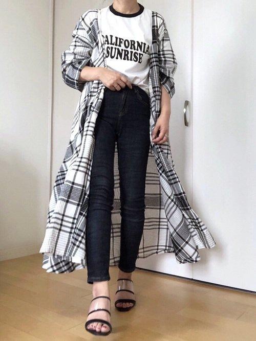 ロングシャツ×デニム