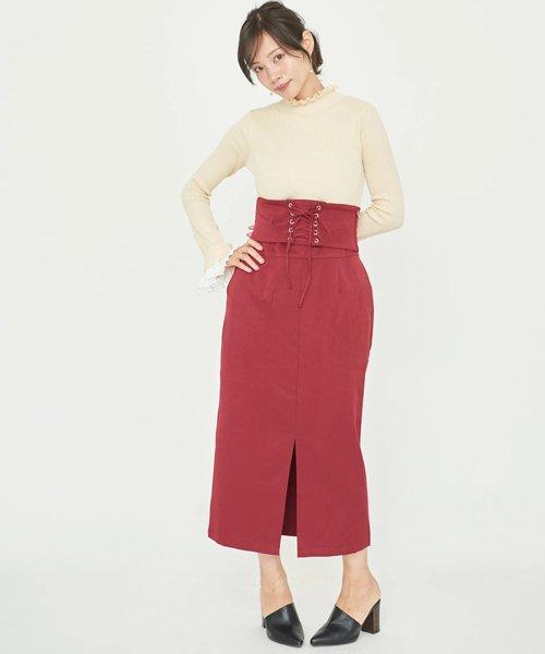 ニット×コルセット付きタイトスカート