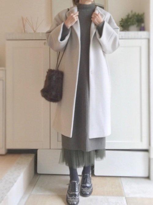 コート×チュールスカート