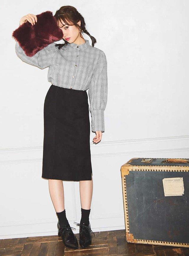 GRL  裾ファスナーデザインスエードタイトスカート
