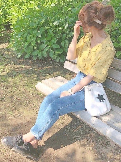 オープンカラーシャツ×ジーンズコーデ