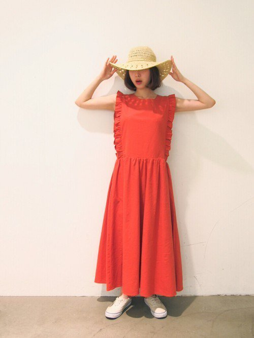 オレンジのリゾートドレス