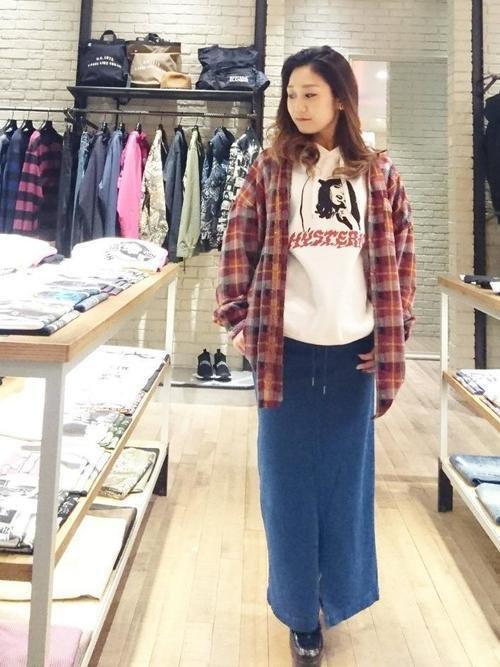 デニムロングスカート チェックシャツ パーカー