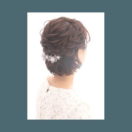 結婚式のショート編み込みヘア