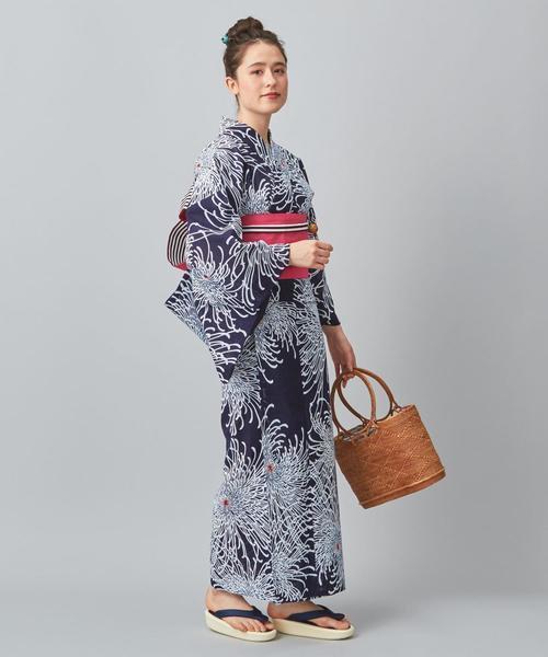 菊柄浴衣コーデ