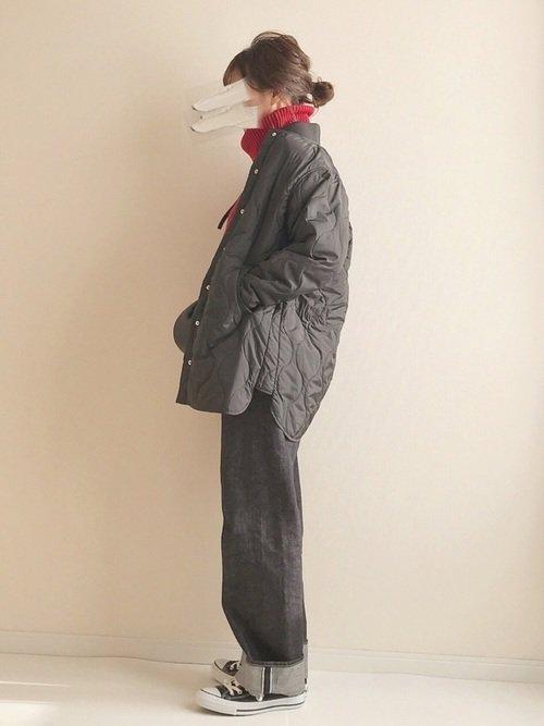 キルティングコートを使った雪国旅行の服装