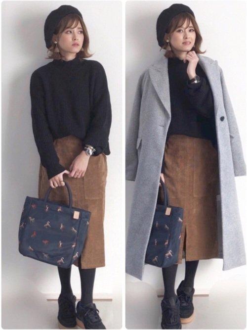 グレーのチェスターコート ブラウンのウールタイトスカート