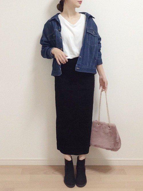 スカート×デニムジャケット